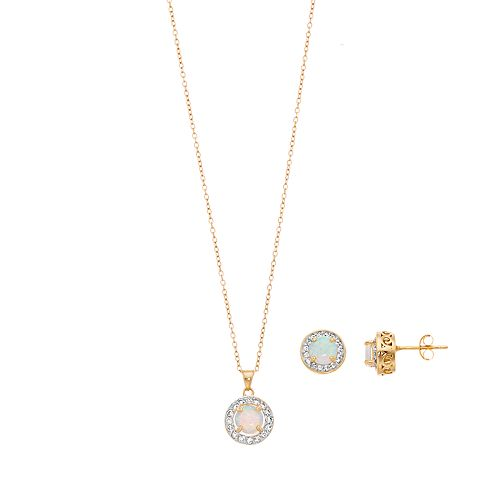 Women's Gold Over Sterling Silver, Created Opal with White Topaz Halo Earrings and Pendant Set