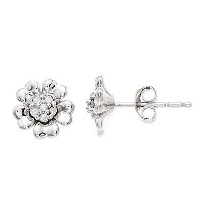 Women's 1/10CTW White Diamond Flower Earrings in Sterling Silver Earrings