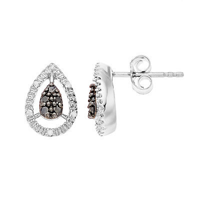 Women's Sterling Silver 1/6CTW Black and White Diamond Pear Shaped Earrings