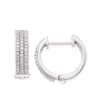 Women's 1/4CTW White Diamond Hoop Sterling Silver Earrings