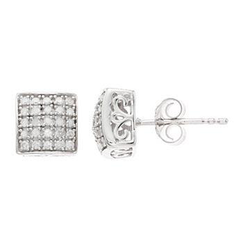Women's 1/4CTW White Diamond Domed Square Earrings