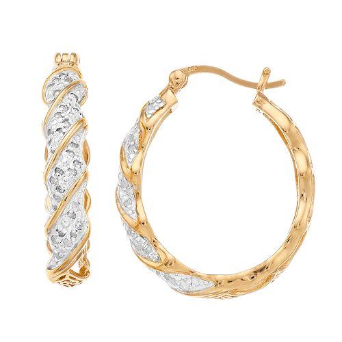 Women's 1/3CTW White Diamond Hoop Earrings in Gold Plated Sterling Silver Earrings