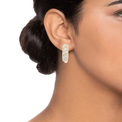 Women's 1/2CTW White Diamond Hoop Earrings in Gold Plated Sterling Silver Earrings