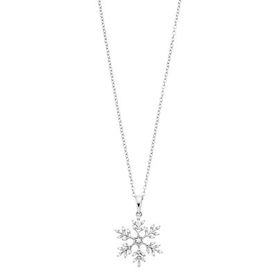 Women's 1/6CTW White Diamond Snowflake Pendant with Chain in Sterling Silver