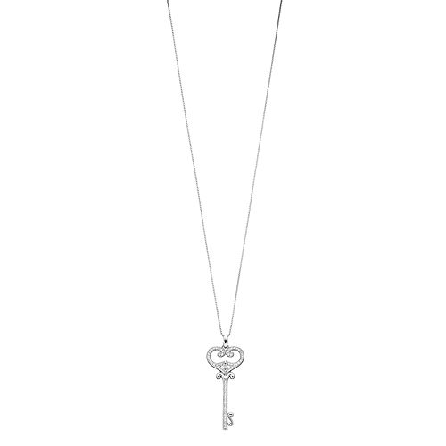 Women's 1/3CTW White Diamond Key Pendant in Sterling Silver with Chain