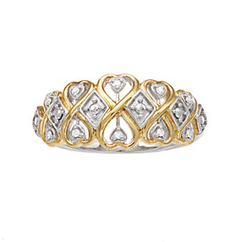 Women's Two Tone Ring in Sterling Silver with Diamond Accent