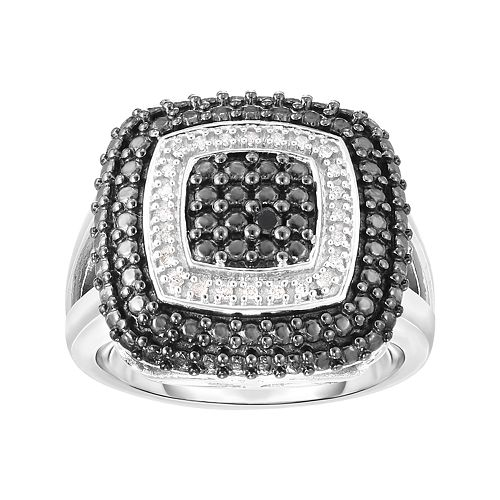 1/10 Carat T.W. Black & White Diamond Sterling Silver Ring