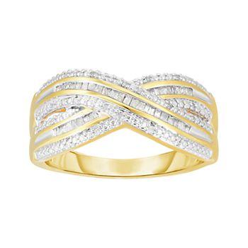 1/5 Carat T.W. Diamond 14k GOld Over Silver Criss Cross Ring
