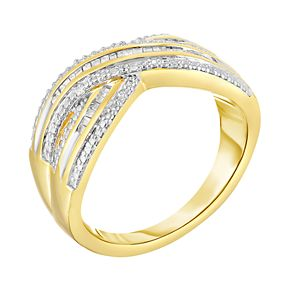 1/5 Carat T.W. Diamond 14k GOld Over Silver Criss Cross Ring