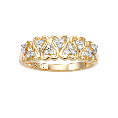 Women's 1/5CTW White Diamond Heart Ring in 14K Gold Over Sterling Silver