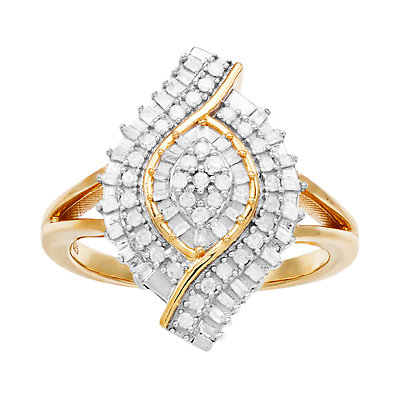 Women's 1/3CTW White Diamond Cluster Ring in 14K Gold Over Sterling Silver