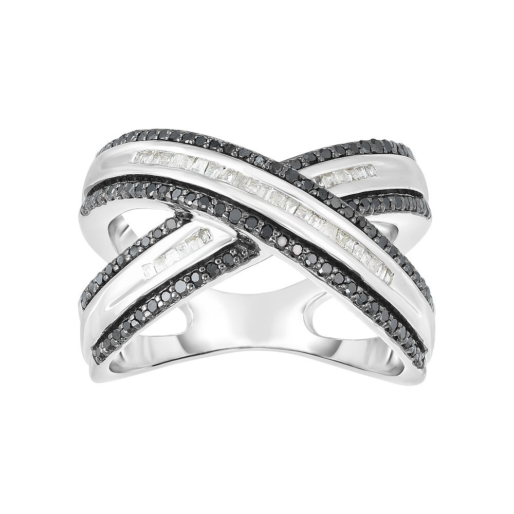 1/2 Carat T.W. Black & White Diamond Sterling Silver Crossover Ring