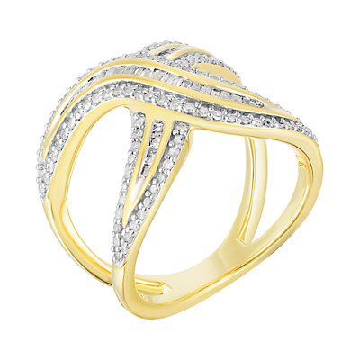 5/8 Carat T.W. 14k Gold Over Silver Crossover Ring