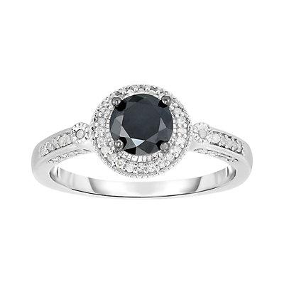 1 Carat T.W. Black & White Diamond Sterling Silver Round Halo Ring