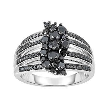 1 Carat T.W. Black Diamond Sterling Silver Split Shank Ring