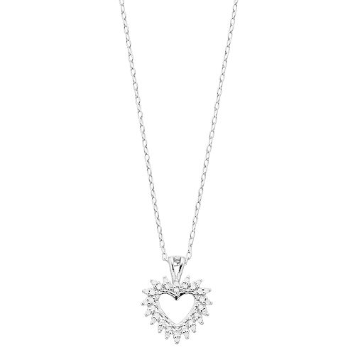 Women's 1/10CTW White Diamond Heart Pendant with Chain in Sterling Silver
