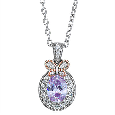 Lily & Lace Two-Tone Cubic Zirconia Butterfly Pendant Necklace