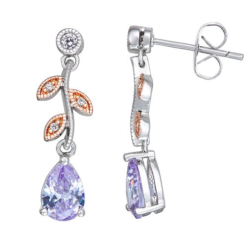 Lily & Lace Two-Tone Cubic Zirconia Leaf Earrings