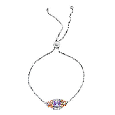 Lily & Lace Two-Tone Cubic Zirconia Butterfly Adjustable Bracelet