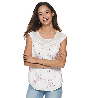 Junior's Candies® Floral Lace Inset Cap Sleeve