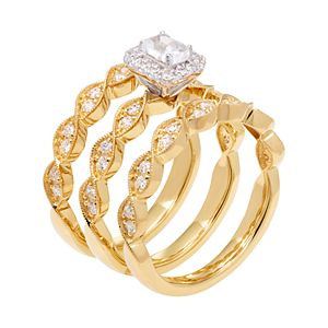 14k Gold 9/10 Carat T.W. IGL Certified Diamond Engagement Ring Set
