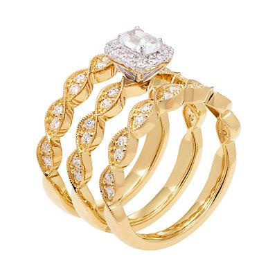 14k Gold 9/10 Carat T.W. IGL Certified Diamond Engagement Ring Set