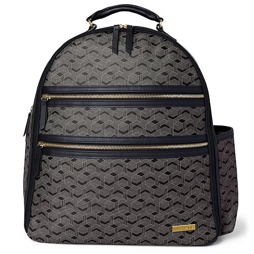 Skip Hop Deco Saffiano Diaper Backpack-Interweave lines-Black