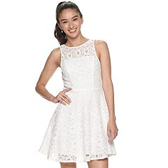 Juniors' Speechless Sleeveless Illusion Neck Lace Fit and Flare Dress