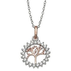 PRIMROSE Two Tone Cubic Zirconia Family Tree Necklace