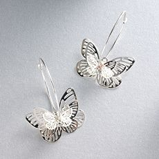 Candie's Silver-Tone Butterfly Hoop Earrings