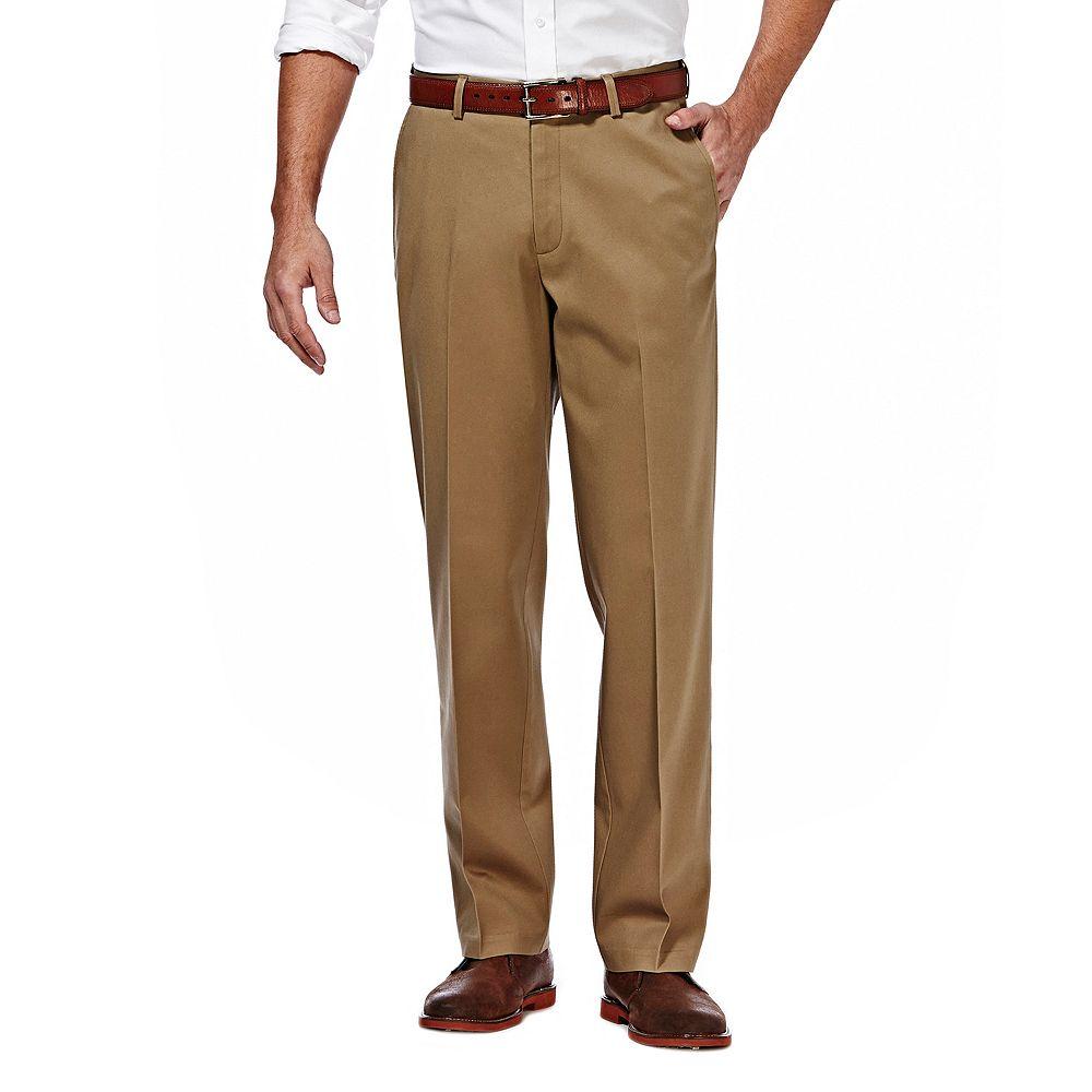 Big & Tall Haggar® Premium No-Iron Khaki Stretch Straight-Fit Flat-Front Pants