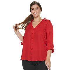 7c1e2f85fae Juniors  Plus Size IZ Byer Roll-Tab Shirt