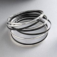 Candie's Silver-Tone & Black Bangle Bracelet Set