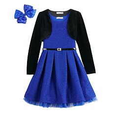 Girls 7-16 & Plus Size Knitworks Glitter Skater Dress & Velvet Shrug Set with Hair Bow & Belt