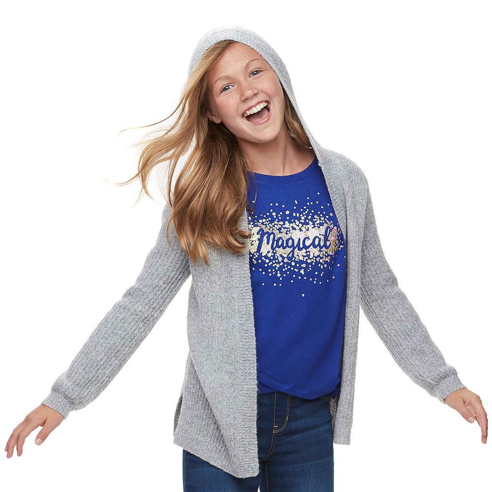 Girls 6-16 & Plus Size SO® Long Sleeve Hooded Cardigan