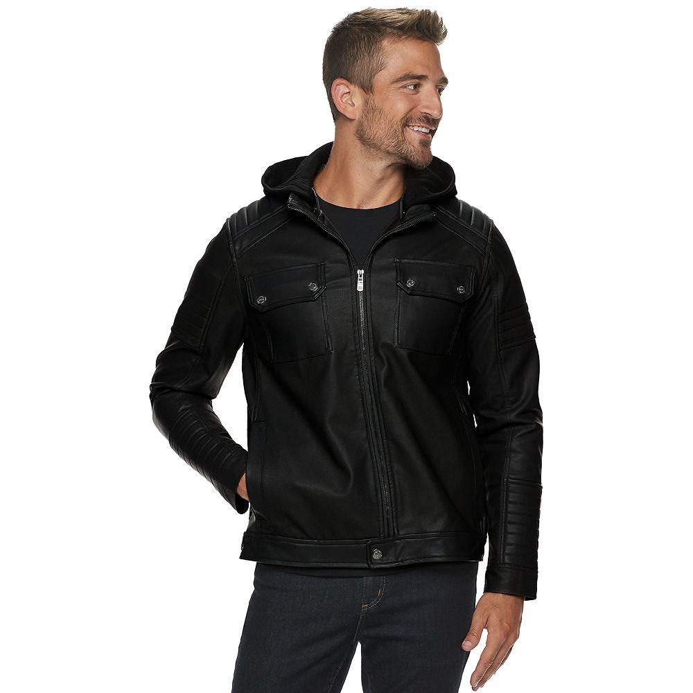 Men's Urban Republic Faux Leather Hooded Jacket