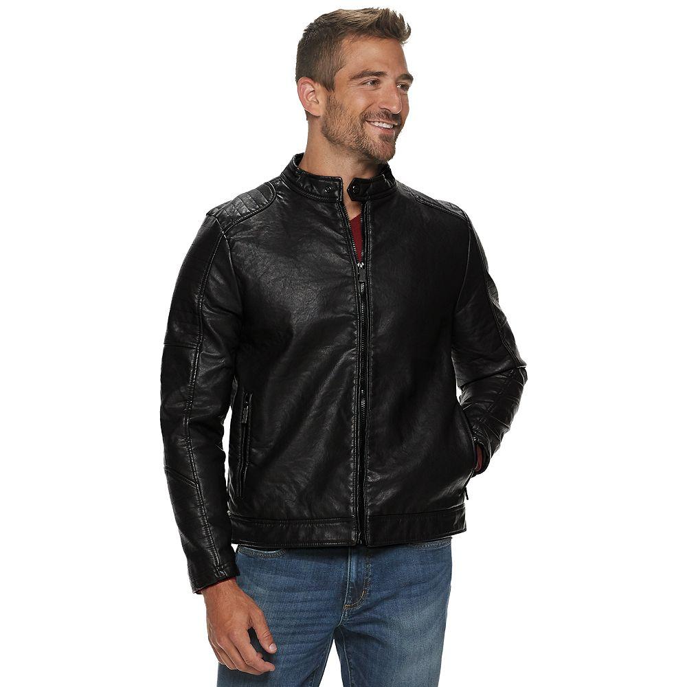 Men's Urban Republic Faux Leather Snap-Collar Jacket