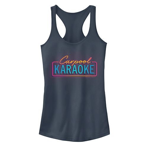 "Juniors' The Late Late Show James Corden ""Carpool Karaoke"" Neon Logo Racerback Tank Top"