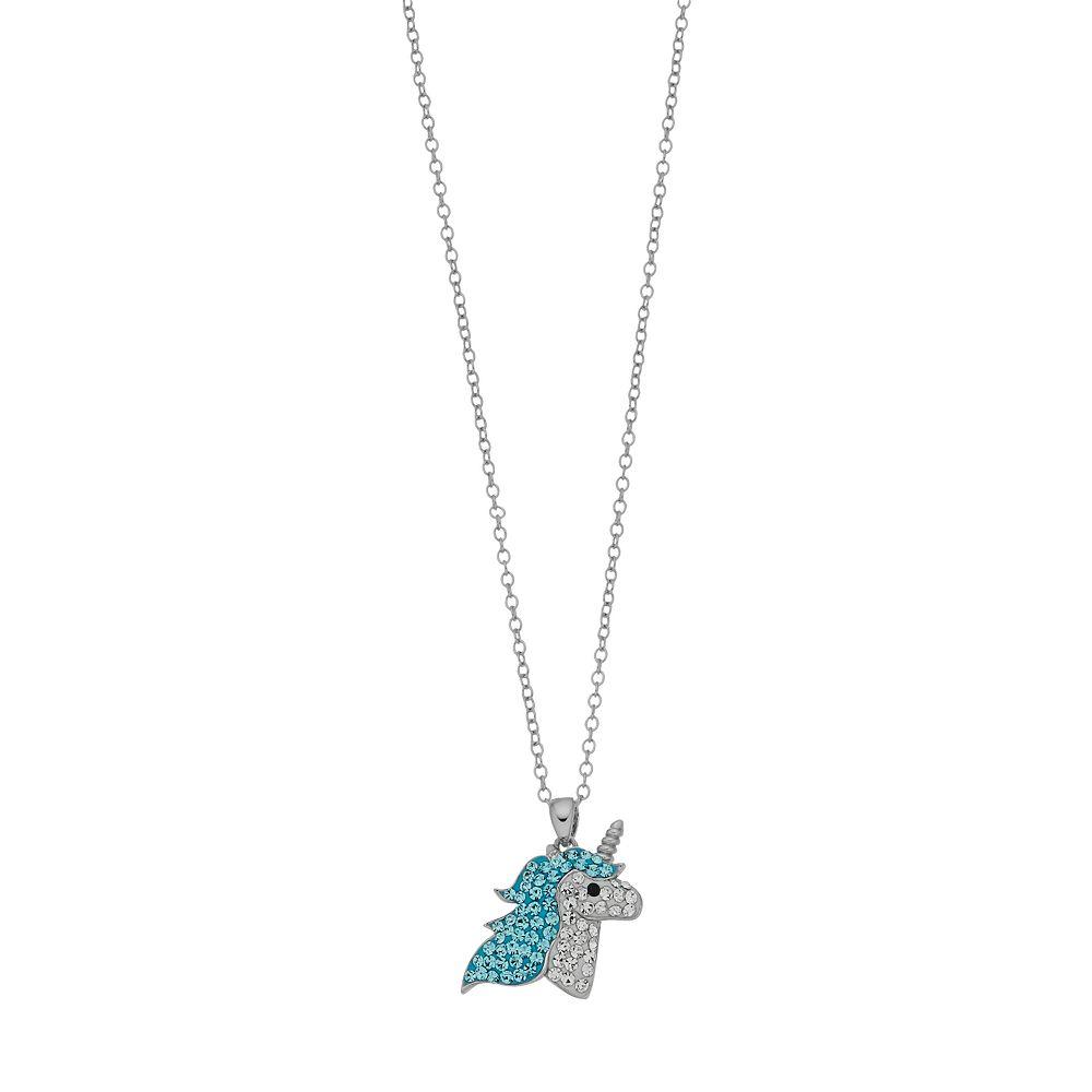 "Womens Unicorn Treasures Crystal Unicorn Turquoise Head Pendant w/18"" chain"
