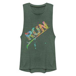 Juniors' Run Colorful Paint Muscle Tank Top