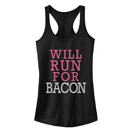Juniors' Run For Bacon Racerback Tank