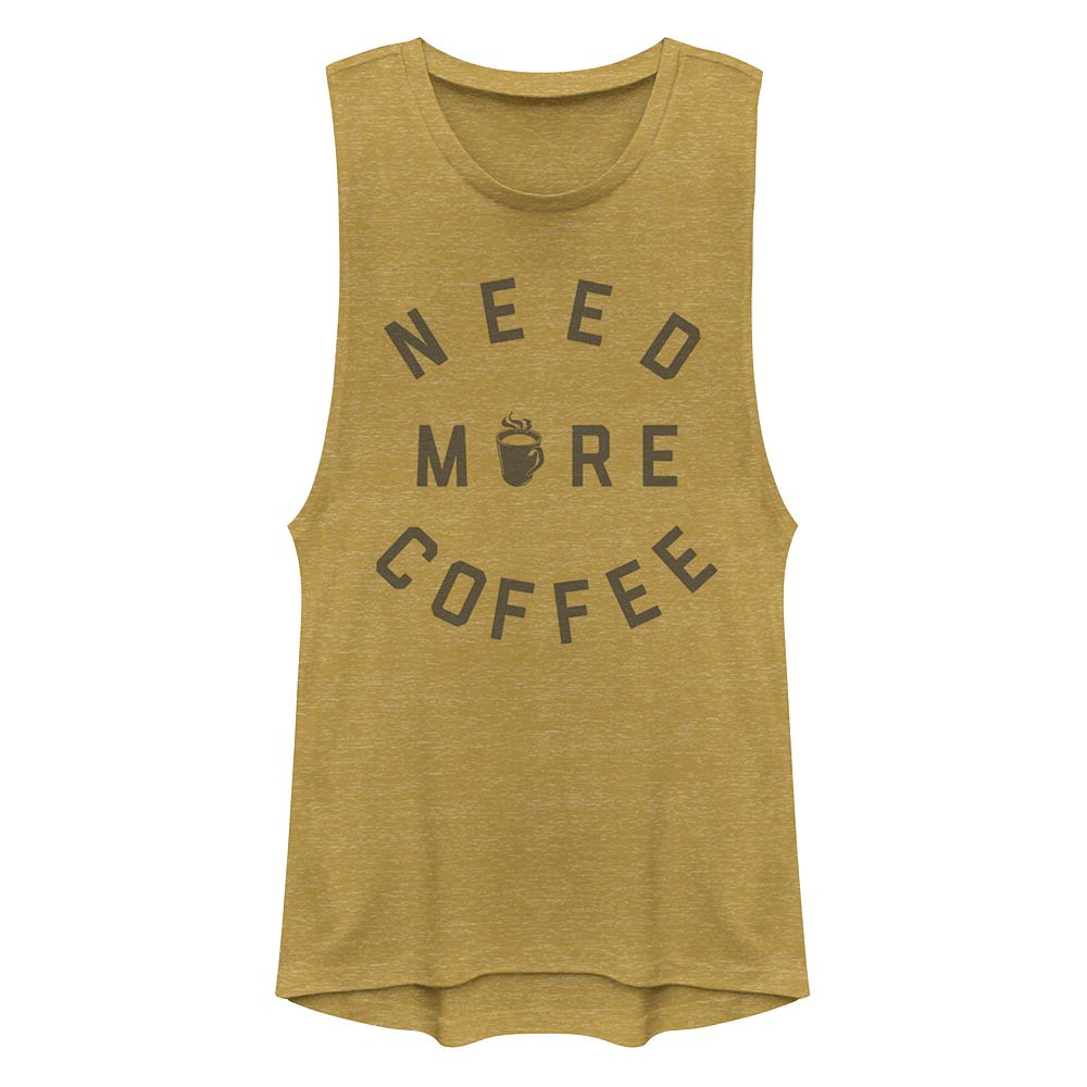 Junior's Chin-Up Need More Coffee Muscle Tank Top
