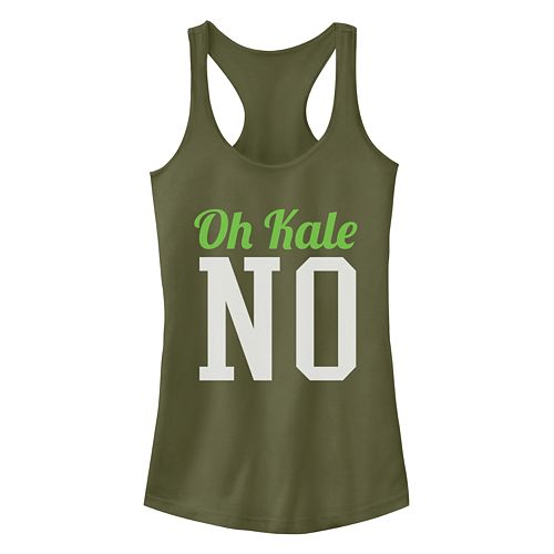 Junior's Chin Up Oh No Kale Ideal Racerback Tank by