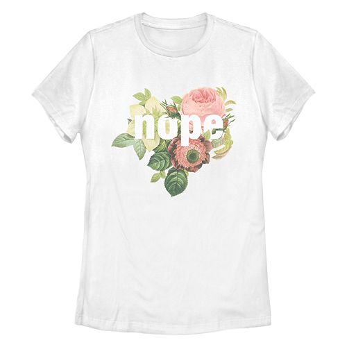 Junior's Chin-Up Floral Nope Missy Crew Tee