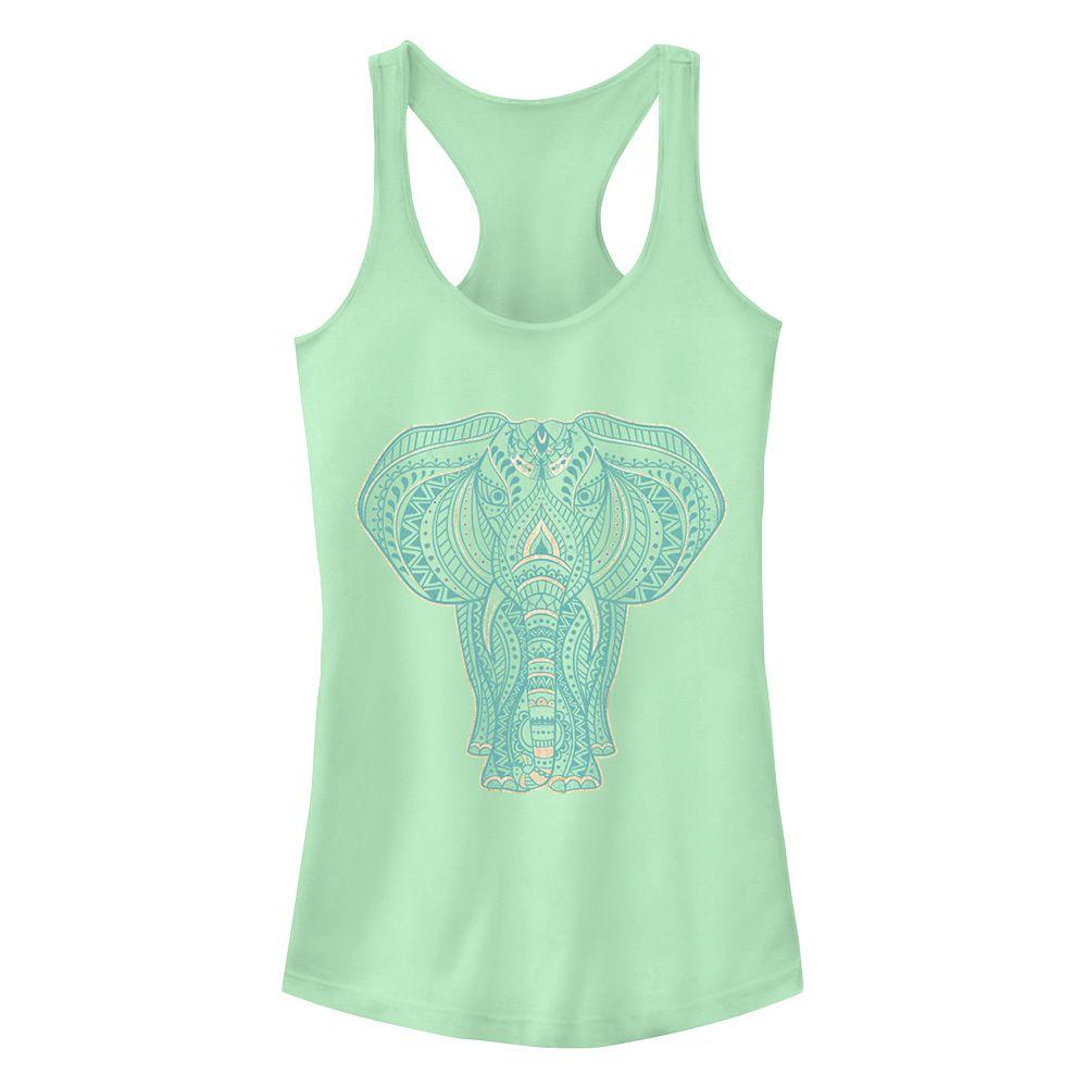 Junior's Chin-Up Boho Elephant Henna Racerback Tank