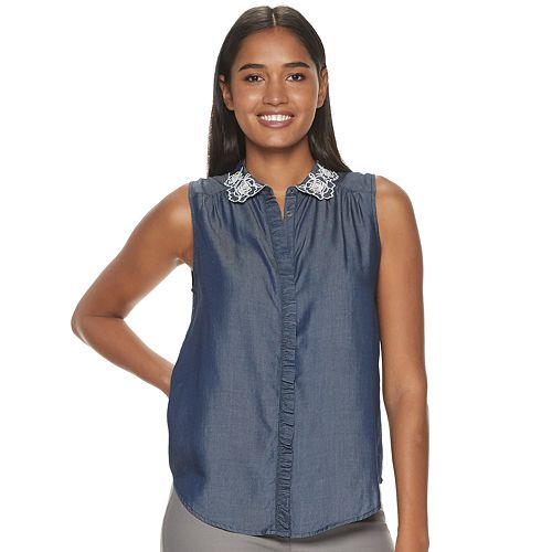 Women's ELLE™ Ruffle Placket Shell Top