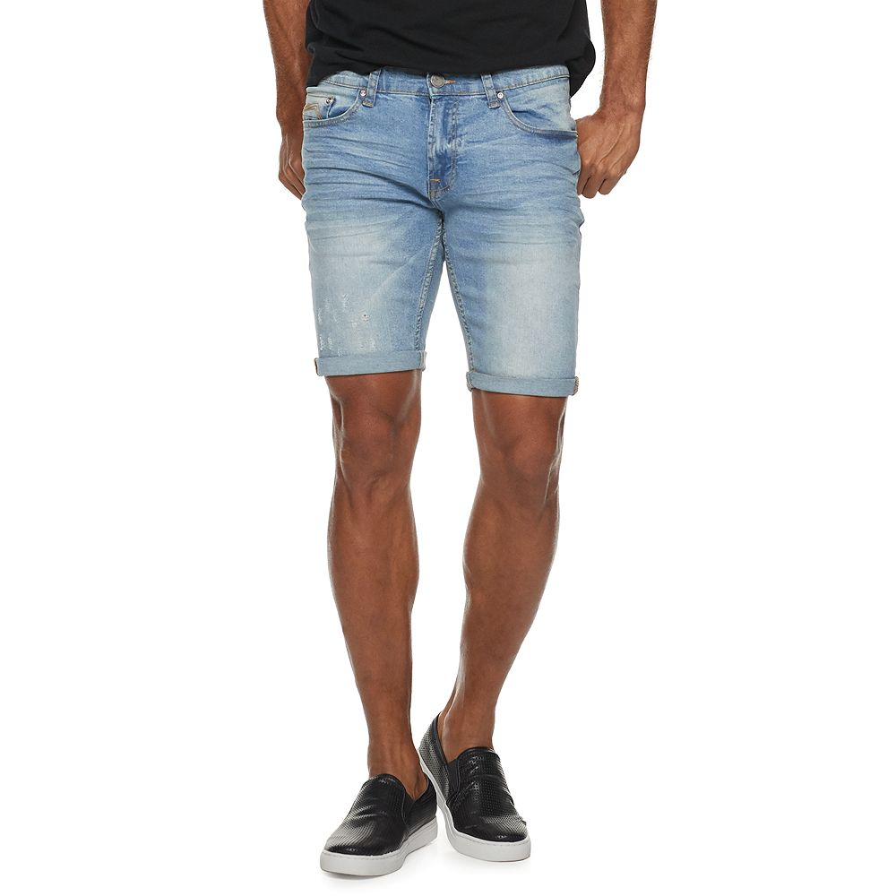 Men's XRAY Slim-Fit Washed Roll-Up Denim Shorts