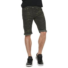 0f256c96a3 Men's XRAY Slim-Fit Washed Roll-Up Denim Shorts. Black Olive Camo White