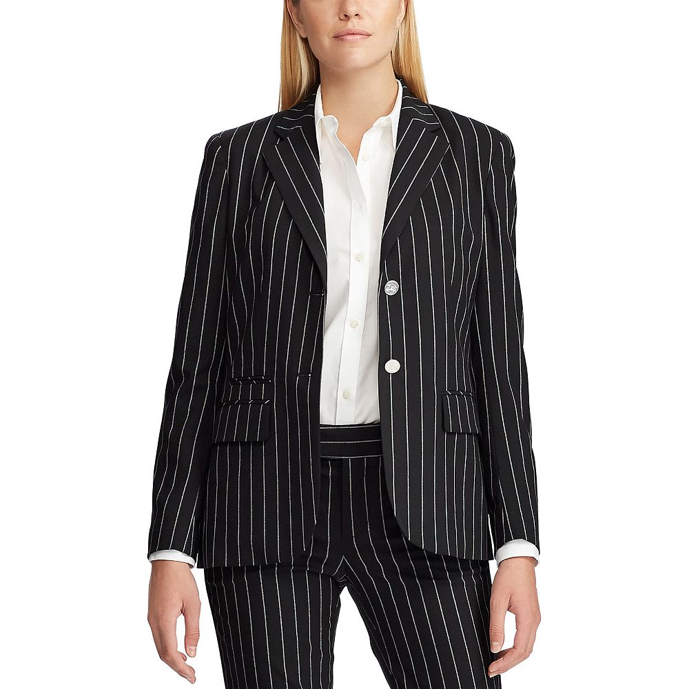 Women's Chaps Angela Black Pearls Blazer Jacket