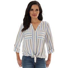 Women's Apt. 9® Mandarin Tie-Front 3/4 Roll-Tab Sleeve Button Down
